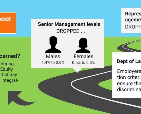 Representation of PWD in management positions in KZN: Dropped from 2014 to 2015. Senior Management level dropped for males: 1.4% to 0.9% and females: 0.5% to 0.3%. Department of Labour directive: Employers should review any selection criteria that excludes PWD to ensure that they are not unfairly discriminated against. Why should you be concerned? These criteria willb e noted during reviews of all employment equity reports, along with an account of any concrete steps taken towards integrating PWD.